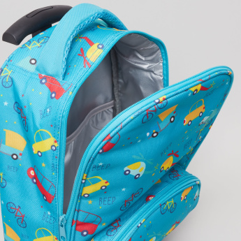 Printed Trolley Backpack with Bag and Pencil Pouch