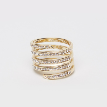Crystal Studded Spiral Ring