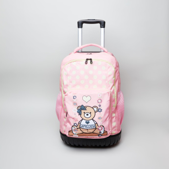 Capricciosa Teddy Bear Printed Trolley Backpack - 34.5x21x45 cms