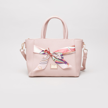 Caprese Cate Tote Bag with Sling Strap and Printed Bow Detail