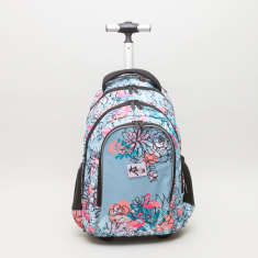 KAOS Flamingo Print Trolley Bag with Retractable Handle