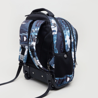 KAOS Silent Printed Trolley Backpack with Zip Closure - 48x33x19 cms