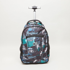 Sin City Print Trolley Backpack with Retractable Handle - 48x33x19 cms