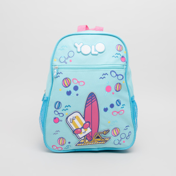 Yolo Printed Mini School Backpack with Shoulder Straps - 33x24x15 cms