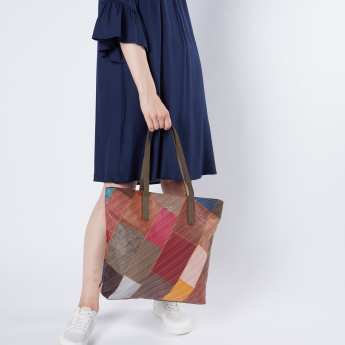 Baggit Patchwork Detailed Shopper Bag with Zip Closure