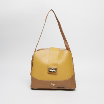 Baggit Colourblock Hobo Bag with Twist and Lock Closure