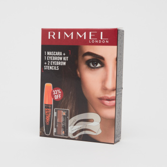 Rimmel Scandal Eyes Extreme Mascara with Eyebrow Kit Stencil - 2.4 gms