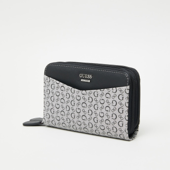 Guess Signature Gleeson Printed Double Zip Around Wallet