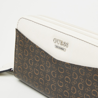 Guess Printed Wallet with Double Zip Closure