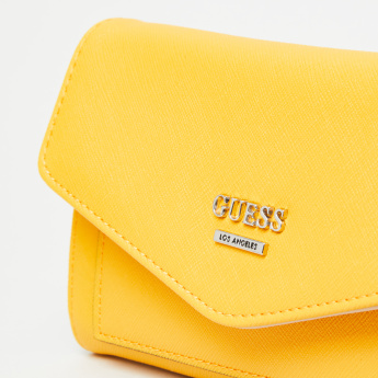 Guess Textured Tri-Fold Wallet with Snap Button Closure