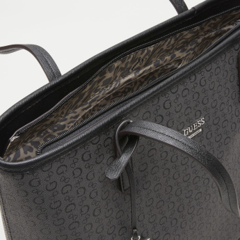 Guess Printed Shopper Bag with Zip Closure
