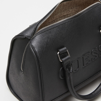 Guess Embossed Duffle Bag with Zip Closure