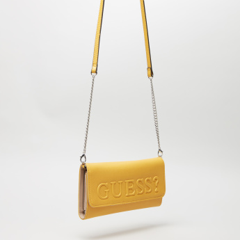 Guess Embossed Wallet with Chain Strap