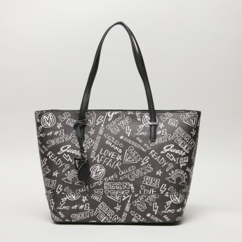 Guess Clarke Printed Shopper Bag with Zip Closure