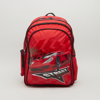 Cars Print Backpack with Adjustable Shoulder Straps - 44.5x33x13.5 cms