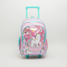 Unicorn Printed Trolley Backpack with Zip Closure - 44.5x33x13.5 cms