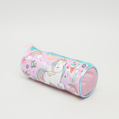 Unicorn Printed Pencil Case with Charm and Zip Closure