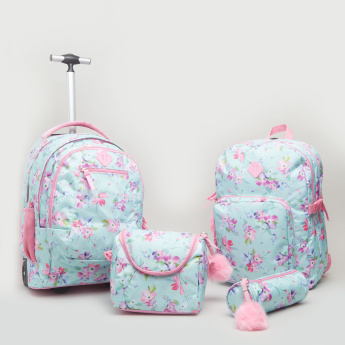 Floral Printed Trolley Backpack - 48x33x17 cms