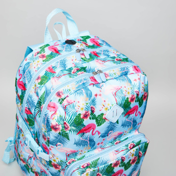 Flamingo Printed Backpack with Zip Closure - 45.5x32.5x11.5 cms