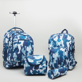 Camouflage Printed Trolley Backpack with Zip Closure - 48x33x17 cms
