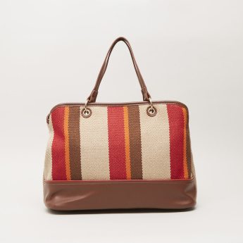Sasha Rococo Striped Shopper Bag with Zip Closure