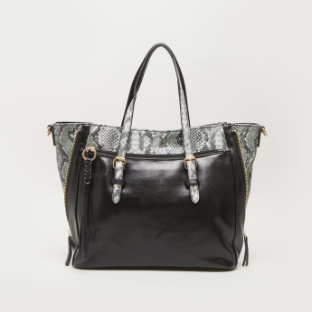 Sasha Rococo Animal Print Shopper Bag with Zip Closure