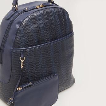 Sasha Textured Backpack Bag with Pouch