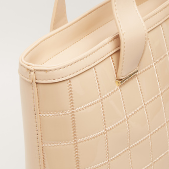 Sasha KDS Checkered Shopper Bag with Zip Closure