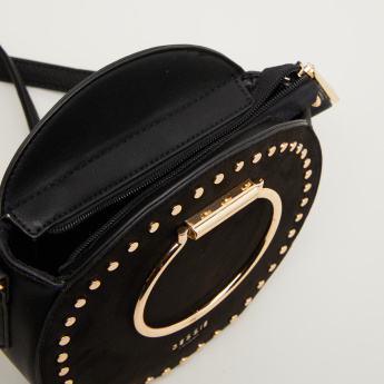 Bessie London Crossbody Bag with Circular Metal Handles