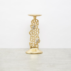 Decorative Pillar Candle Holder with Honeycomb Detail - 17x7x25 cms
