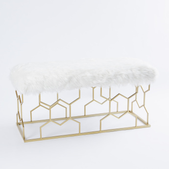 Honeycomb Detail Bench with Furry Seat - 105x40.5x52 cms